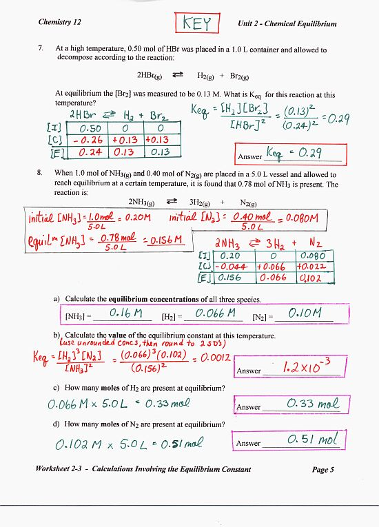 Chem12: answers to extra worksheet